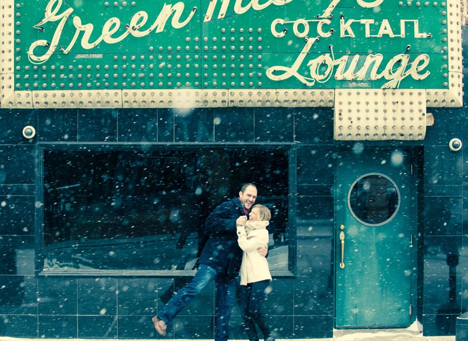 Green Mill Chicago engagement photography