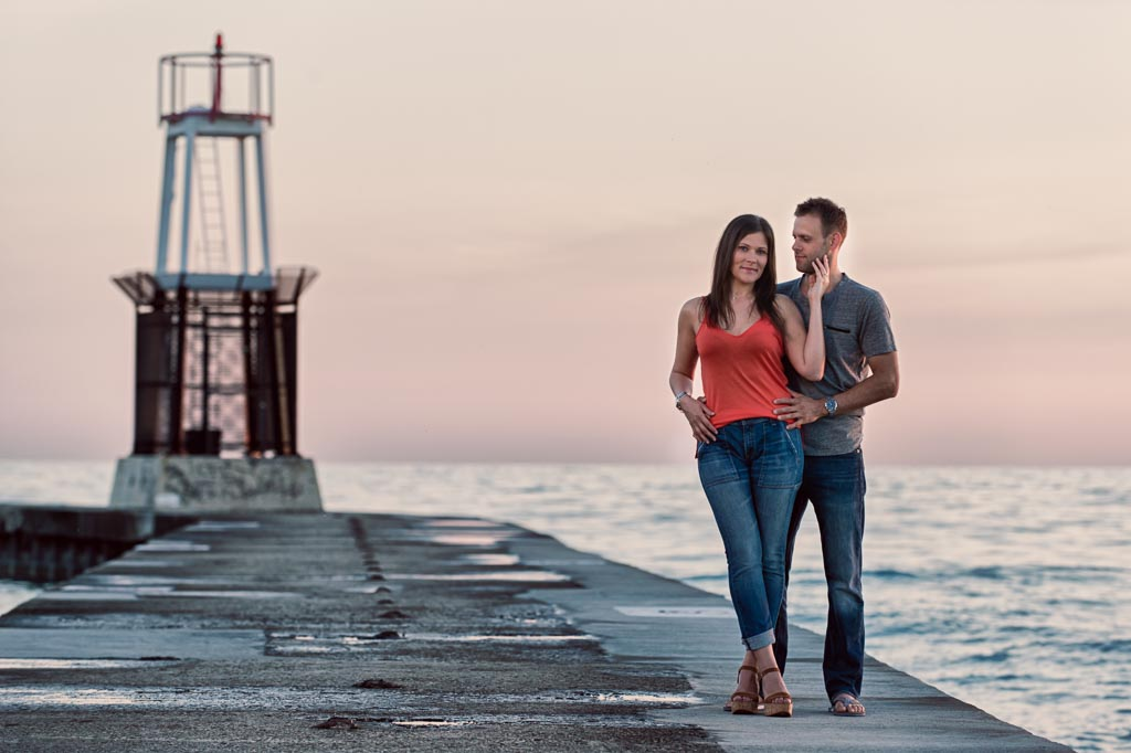 Sunrise engagement session at North Avenue Beach Chicago