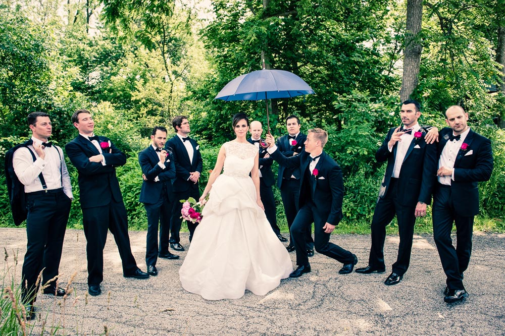 Groomsmen with bride Long Grove