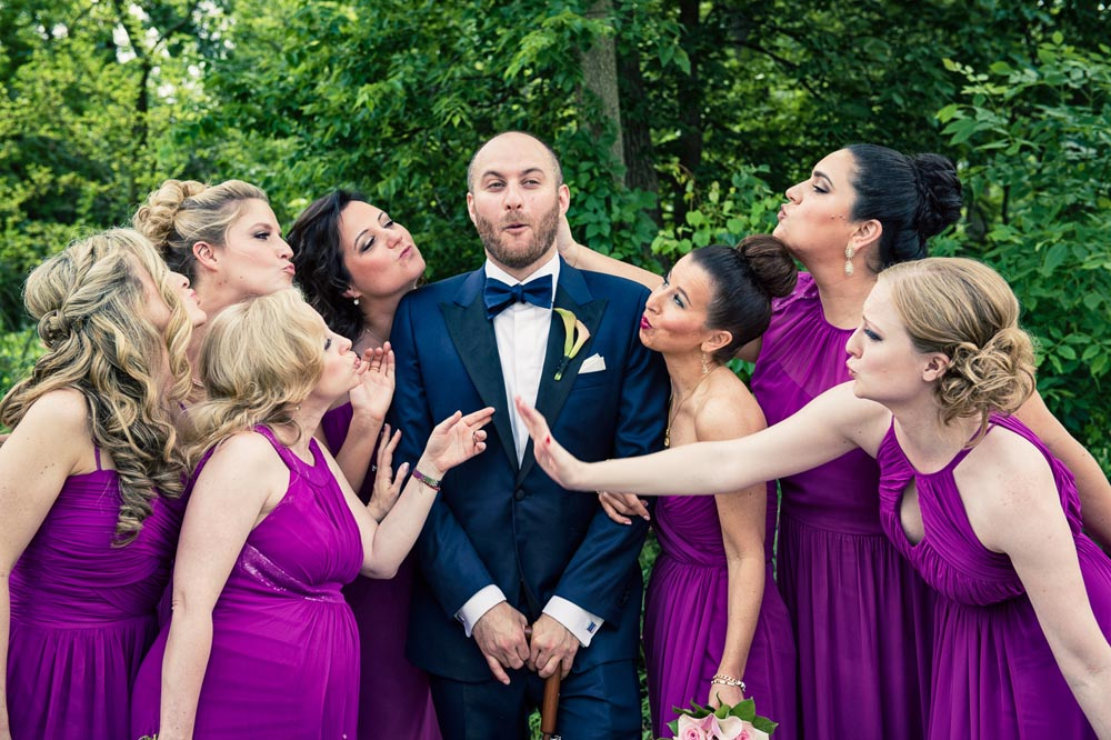 Bridesmaids with groom in Long Grove