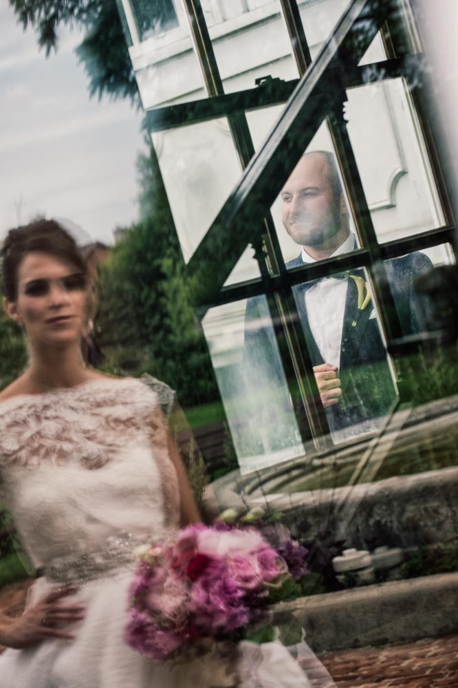 Artistic wedding reflection downtown Long Grove