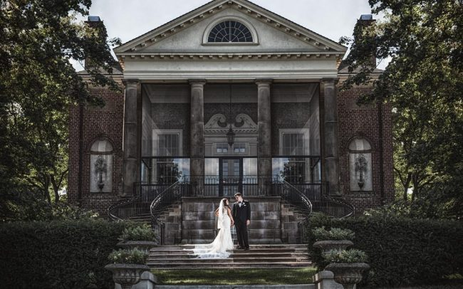 Wedding couple at Cantigny Park