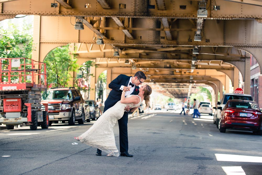 "Wedding portrait under the ""L"" Chicago"