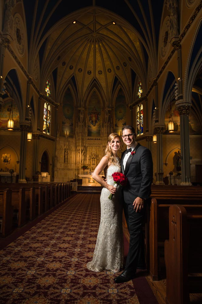 formal wedding portrait at St. Alphonsus
