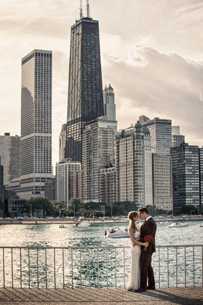 Skyline wedding portrait at Olive Park