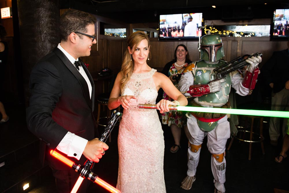 wedding entrance at Timothy O'Tooles with Boba Fett