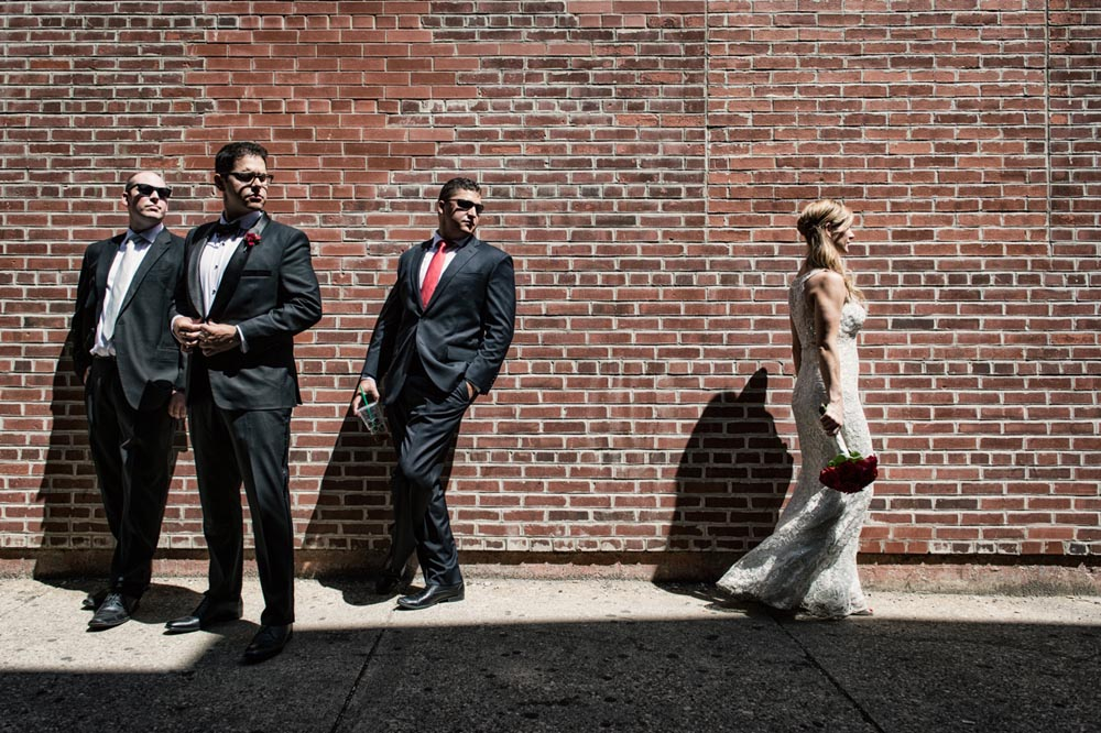 Dramatic bridal party portrait
