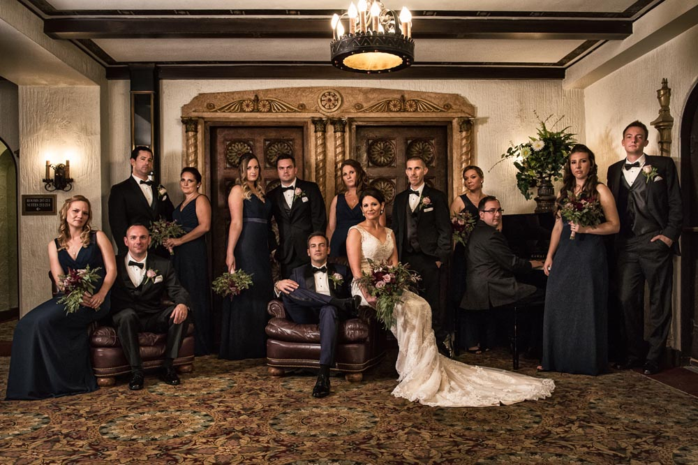 Dramatic bridal party at Hotel Baker