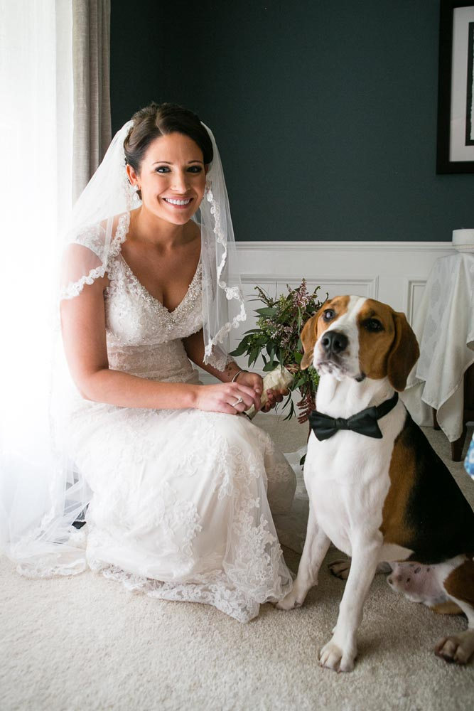 Bride and her dog portrait