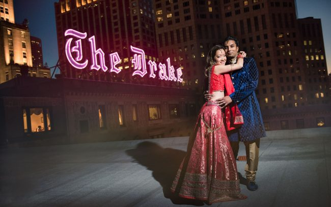 Indian wedding on rooftop of Drake Hotel Chicago