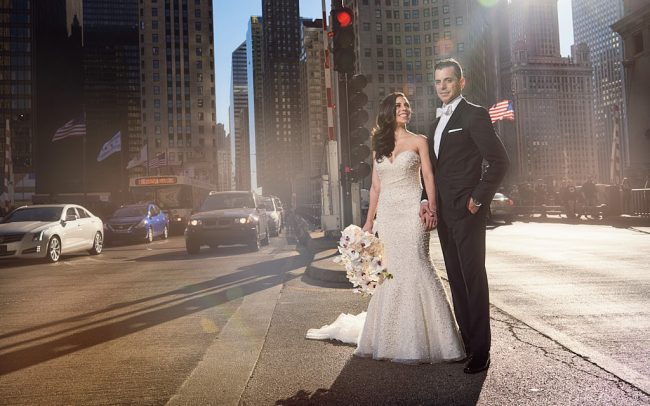 Michigan Avenue wedding portrait