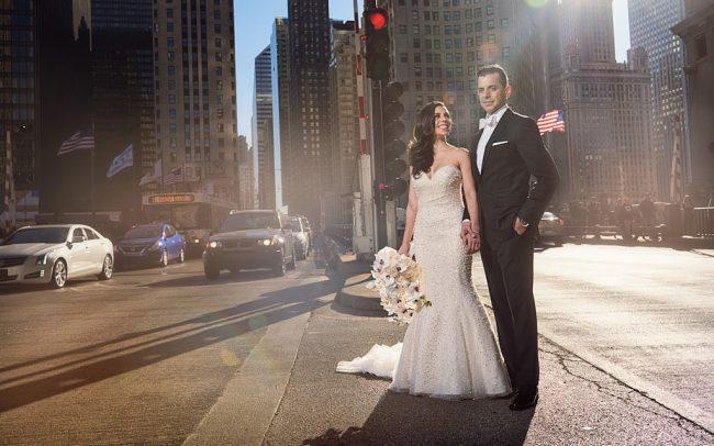 Michigan Avenue wedding portrait