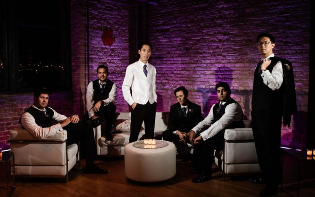 Groomsmen at wedding in Bridgeport Art Center