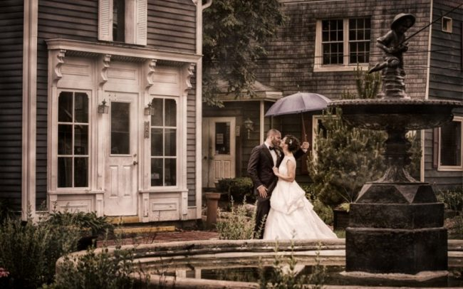 Downtown Long Grove Illinois wedding portrait