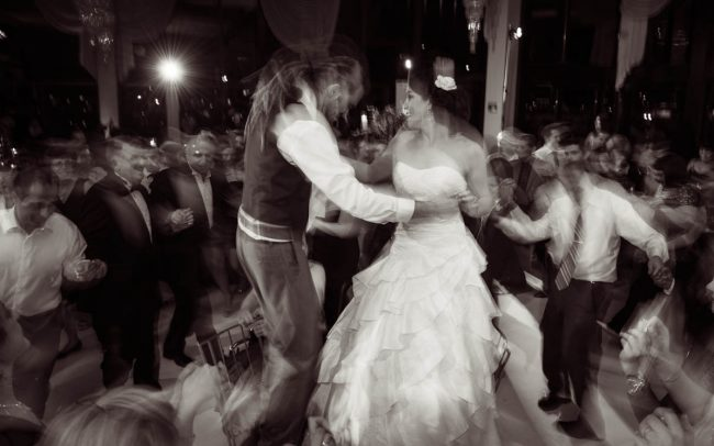 Bride and groom dancing at wedding in Victoria BeauJolie