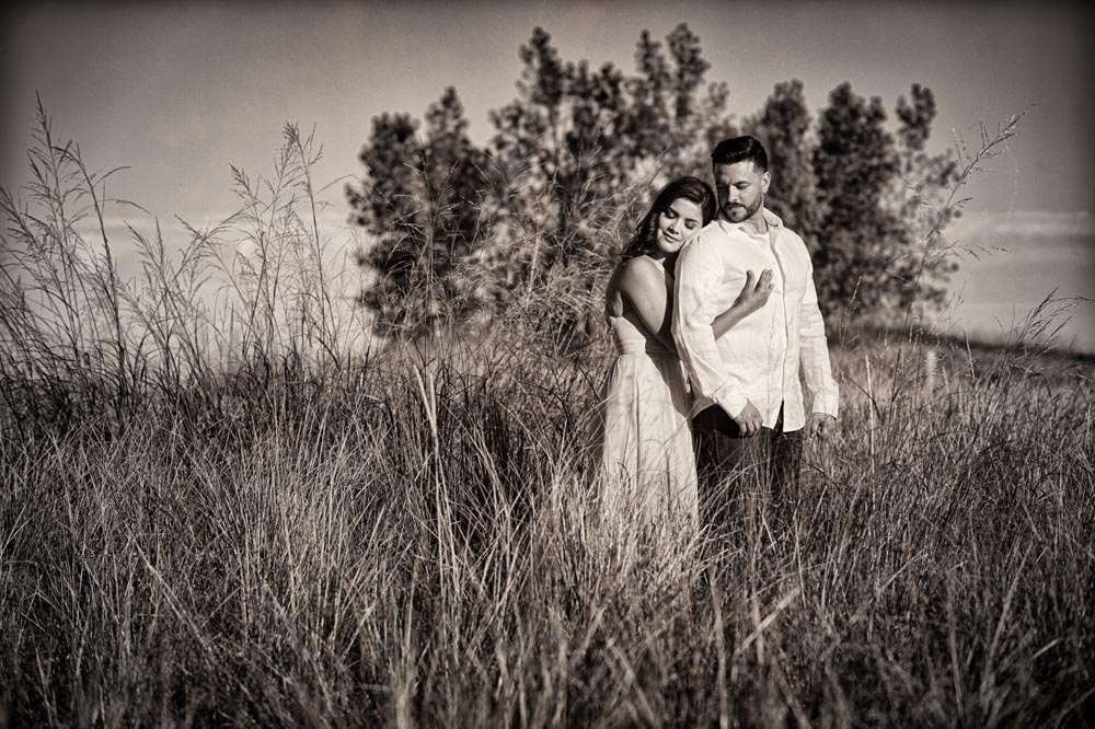 dramatic tall grass engagement portrait