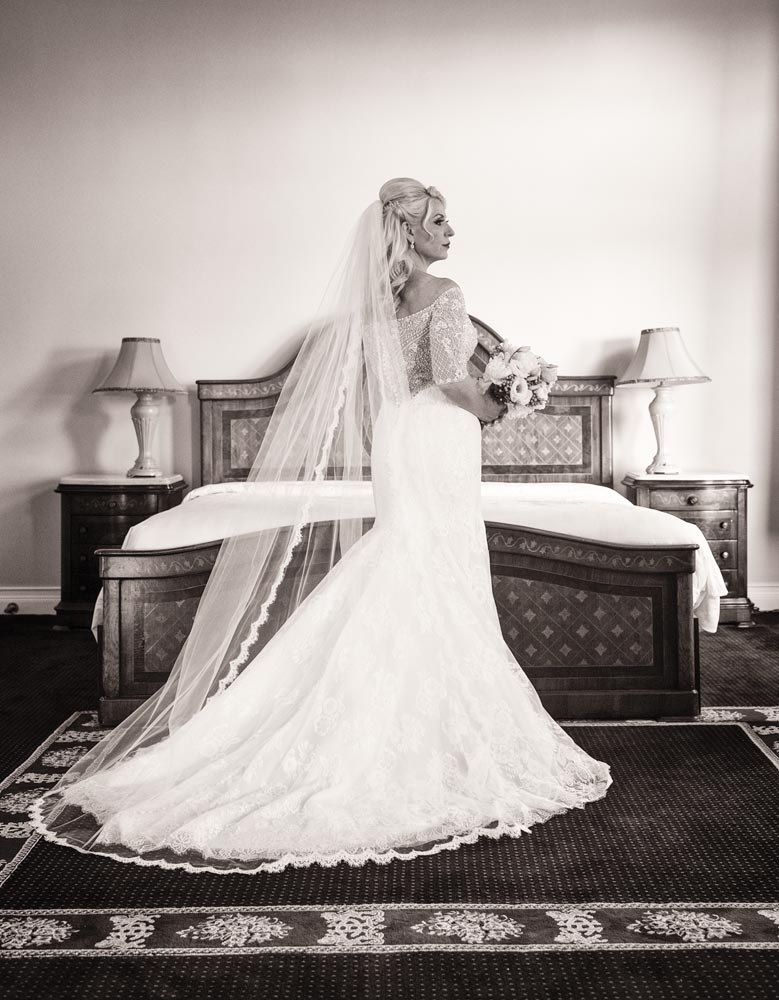 Full length bridal portrait at Congress Hotel