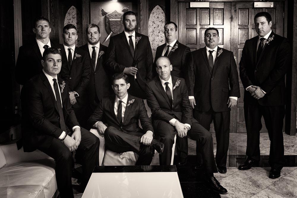 Dramatic groomsmen group portrait