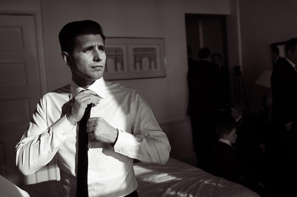 dramatic groom portrait at Congress Hotel