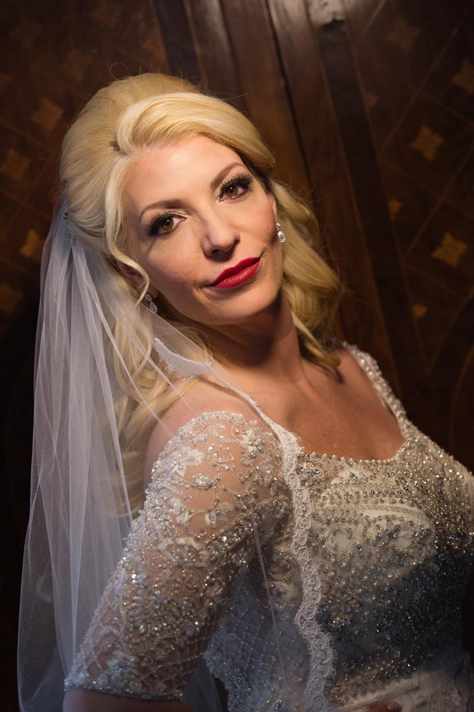 Dramatic bridal portrait at Congress Hotel