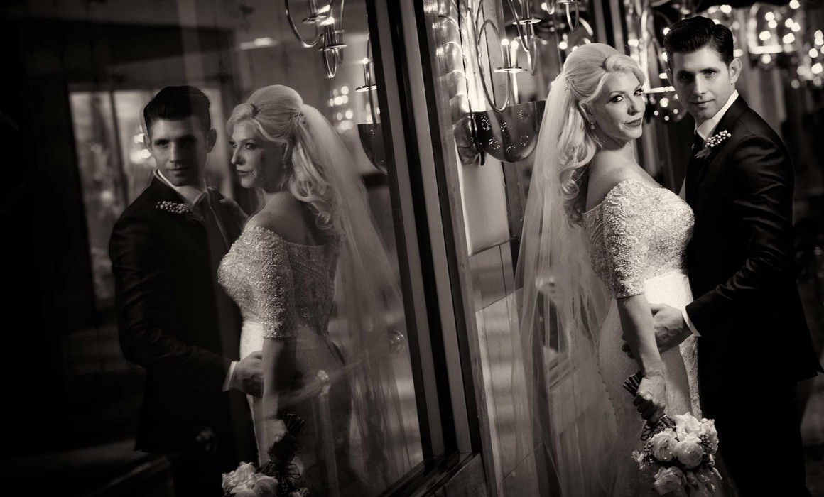 Bride and groom reflection image at Congress Hotel Chicago