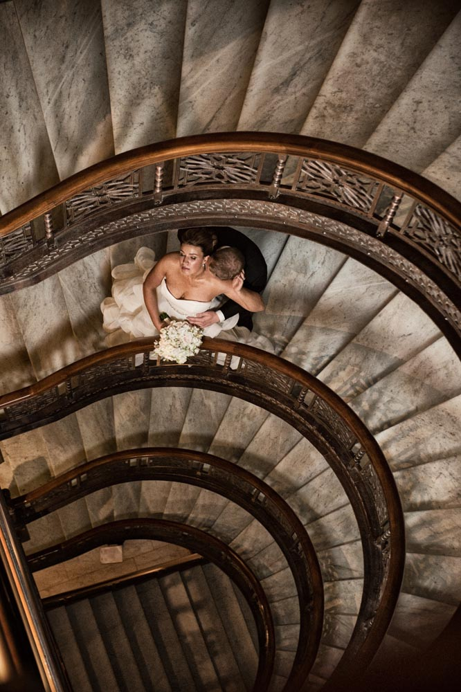 The Rookery Oriel staircase wedding portrait