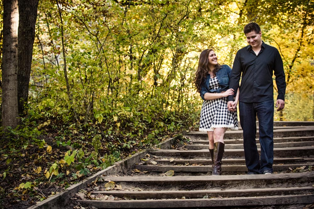 Smiling and walking stairs engagement