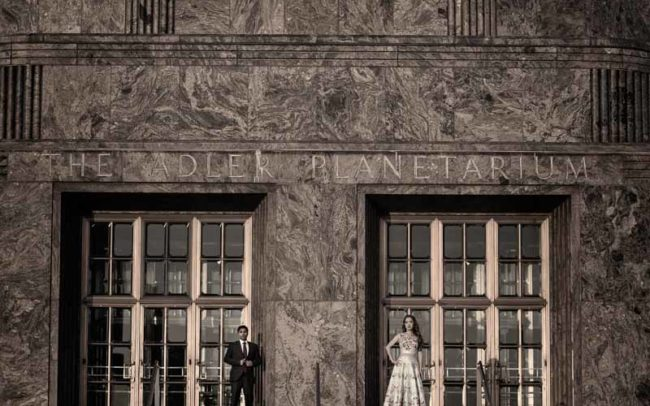 Adler Planetarium Engagement Portrait in front of building