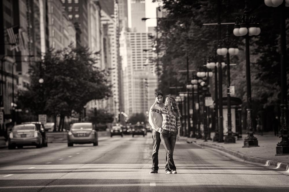 Michigan Avenue dramatic engagement portrait