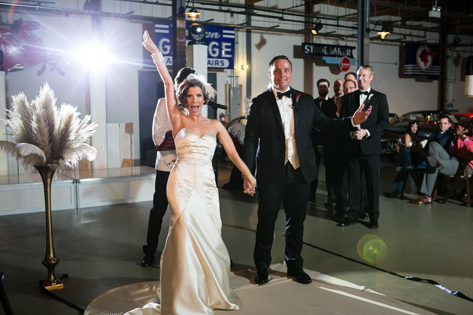 Wedding ceremony bride celebrating at Ravenswood Event Center