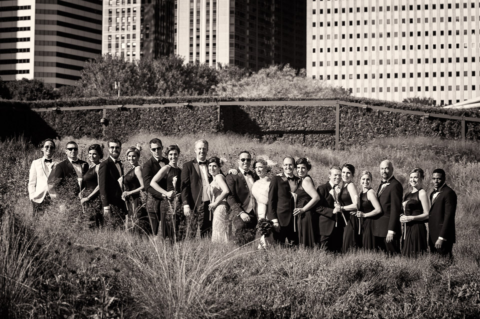 Full Gatsby bridal party at Lurie Garden at Millennium Park Chicago