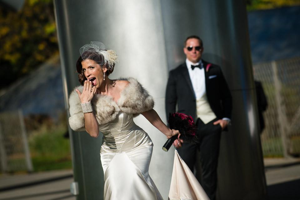 Bride and groom portrait at Millennium Park Chicago