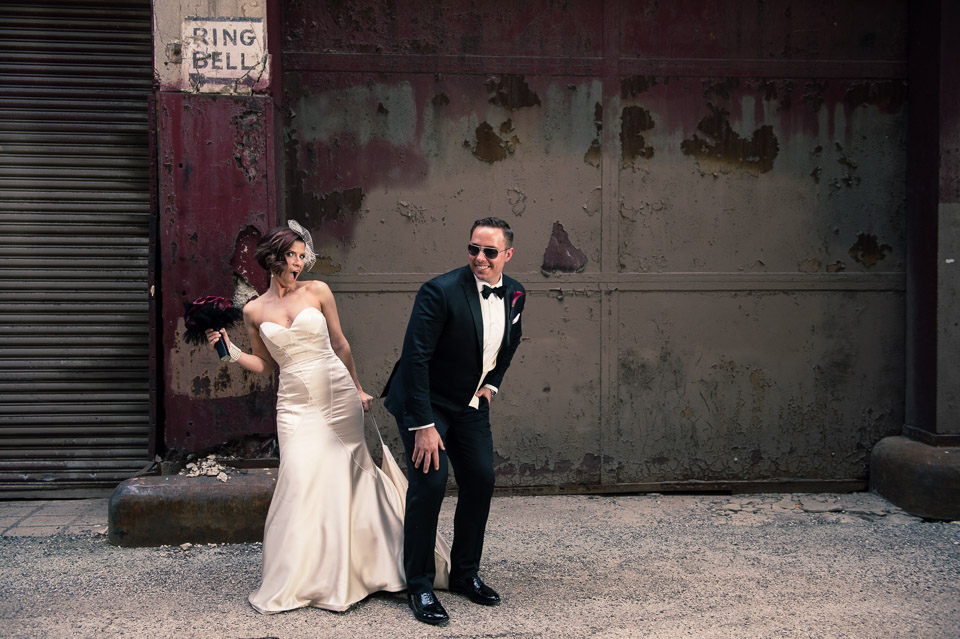 Bride and groom portrait in back alleyway of Chicago