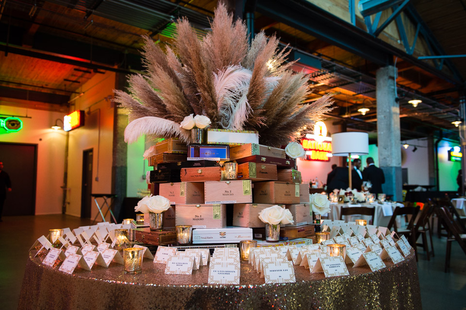Cigar box centerpiece decor for wedding at Ravenswood Art Center
