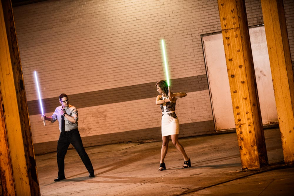 Preparing for light saber fight