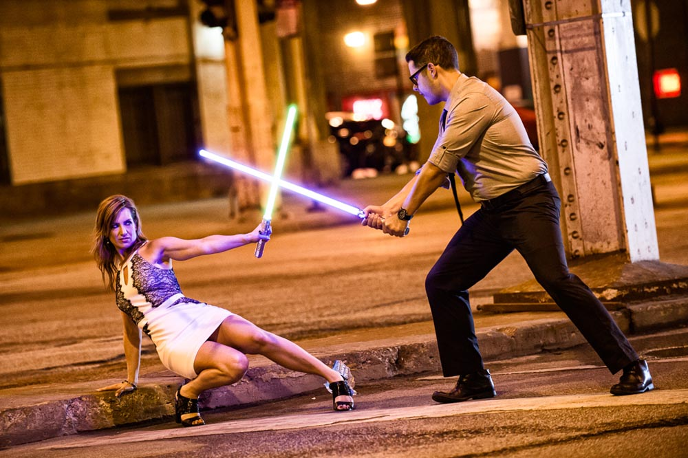 Light Saber engagement fight