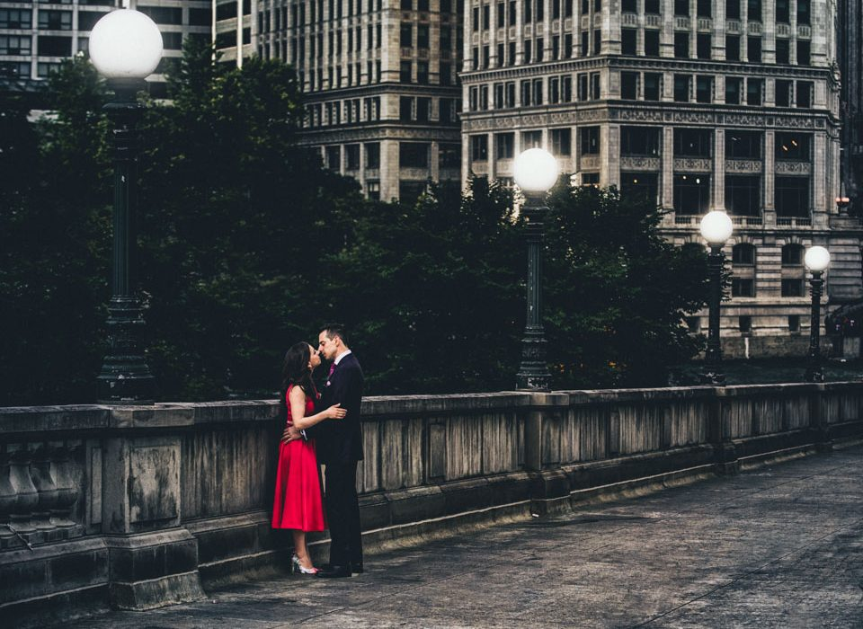 Chicago River Walk dramatic engagement
