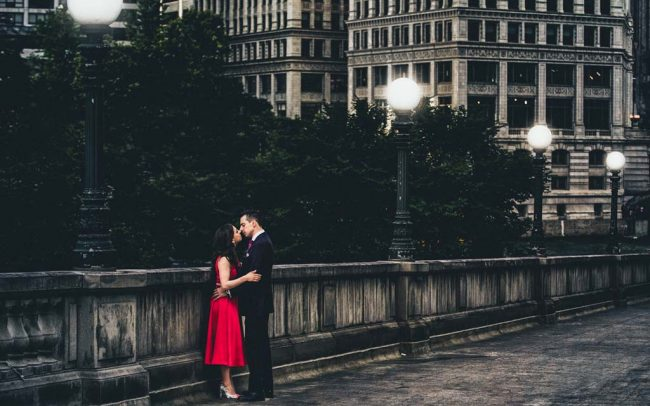 Dramatic engagement portrait along the Riverwalk in Chicago