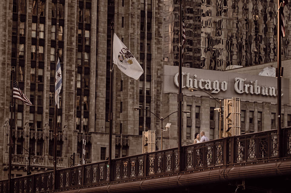 Michigan Avenue bridge portrait from below with Chicago Tribune in the background.