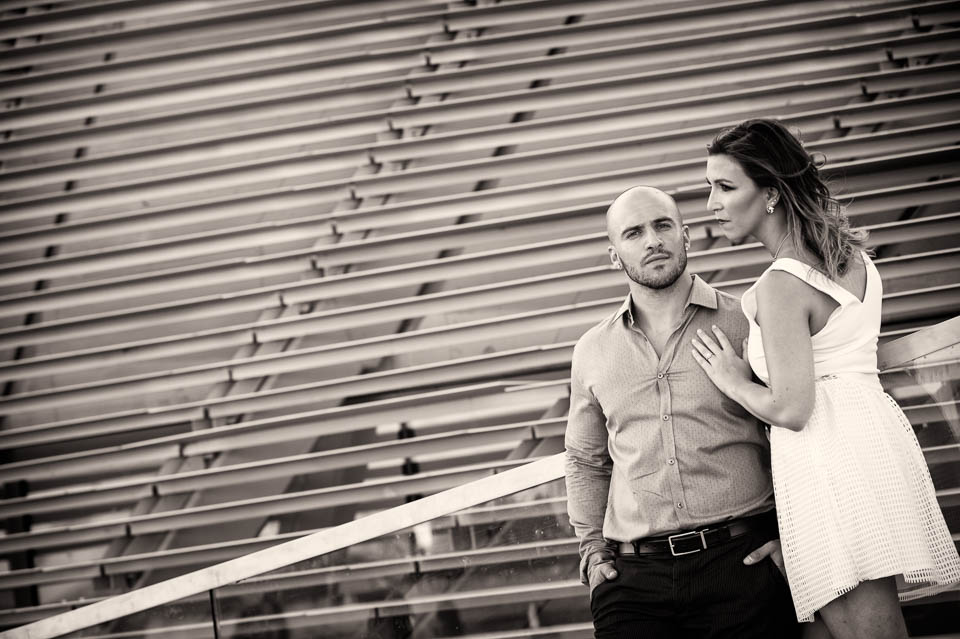 High fashion black and white engagement session at Navy Pier