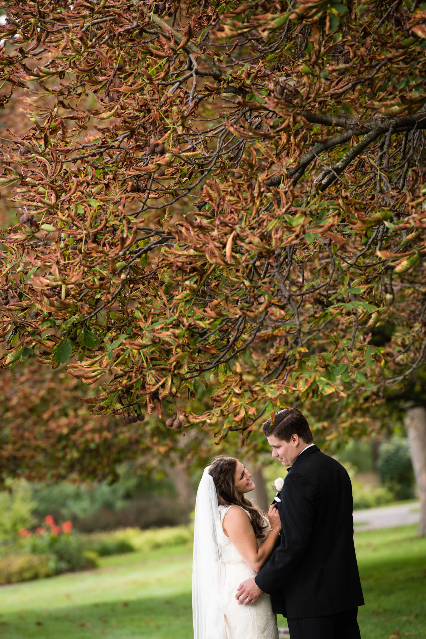 Beautiful fall wedding colors portrait.