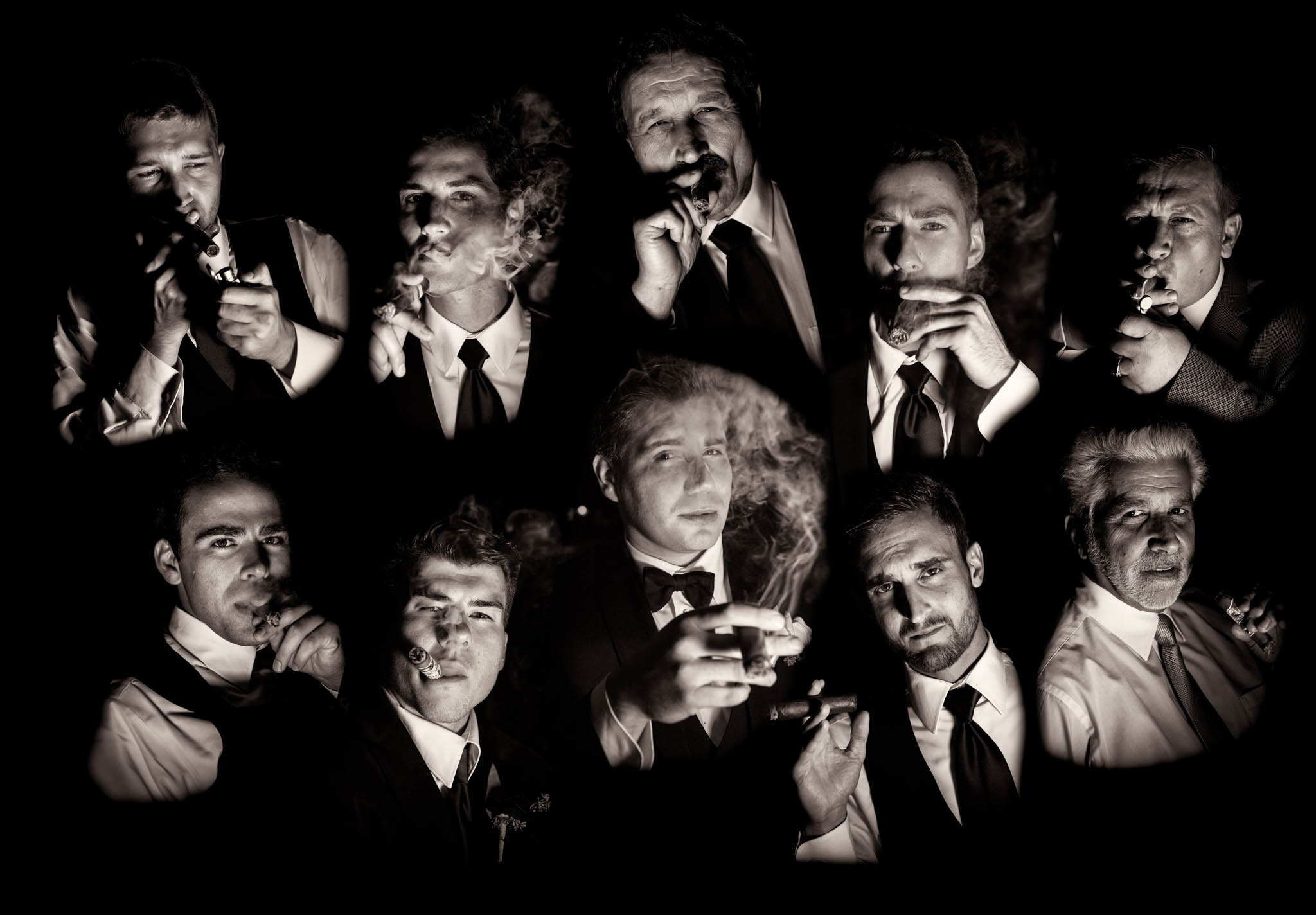 Groomsmen smoking cigars fine art portrait at Venuti's