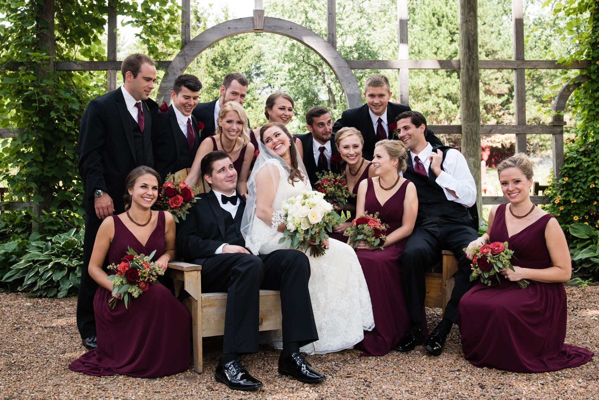 Bridal party portrait at Cantigny Park