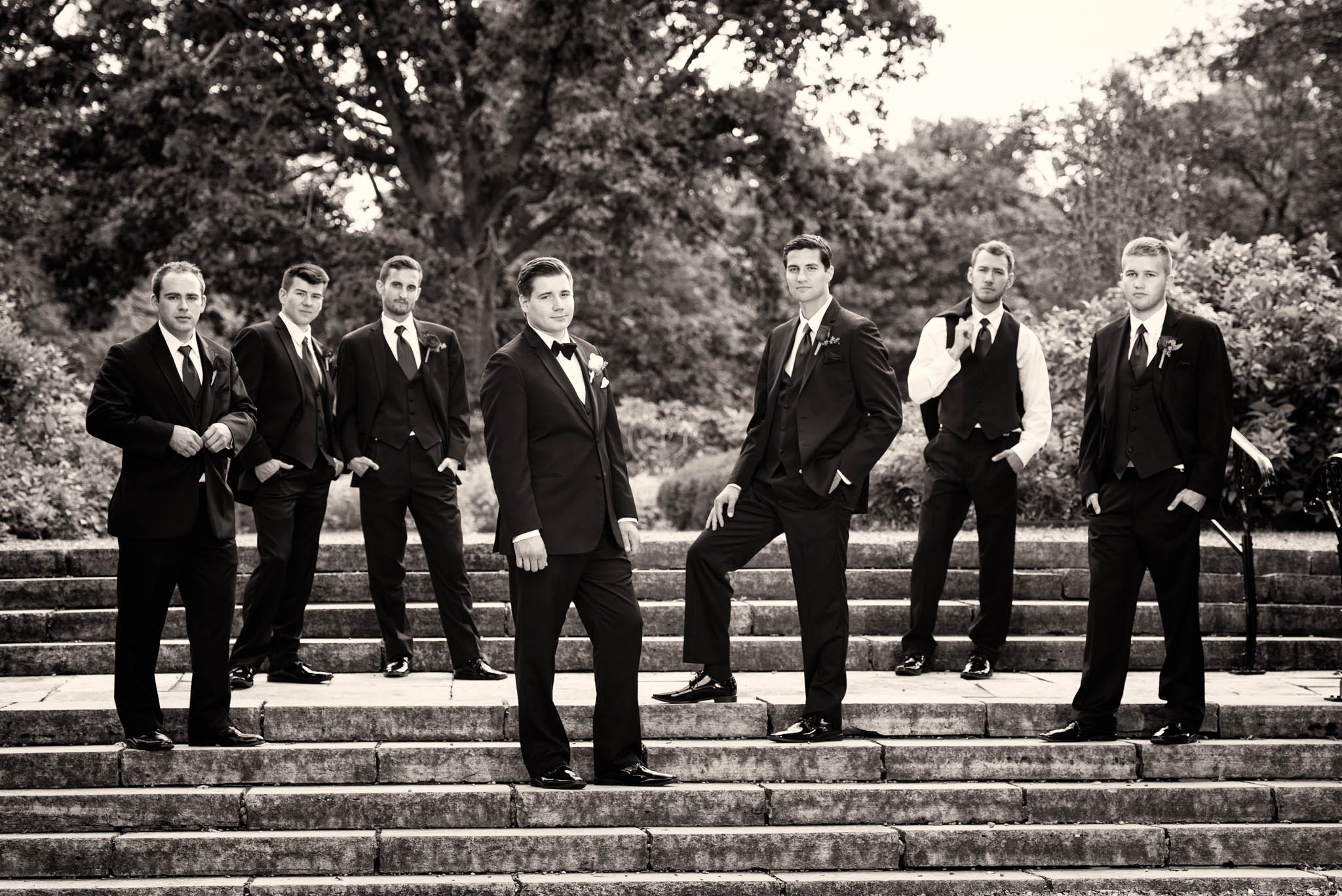 Groomsmen portrait at Cantigny Park