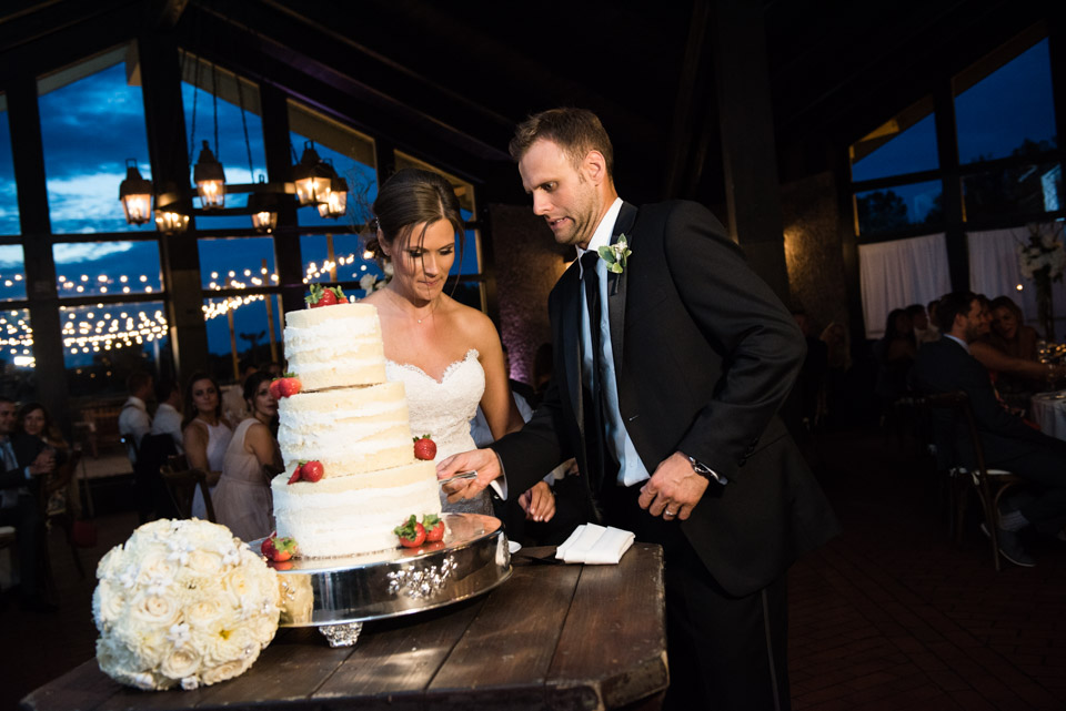 Wedding cake cutting at Ski Chalet Grand Geneva