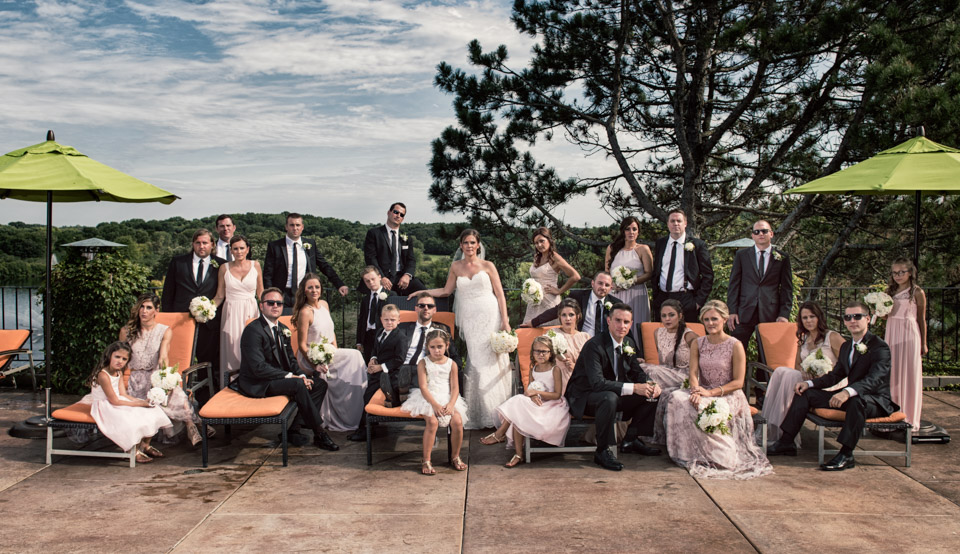 Bridal party portrait at Grand Geneva