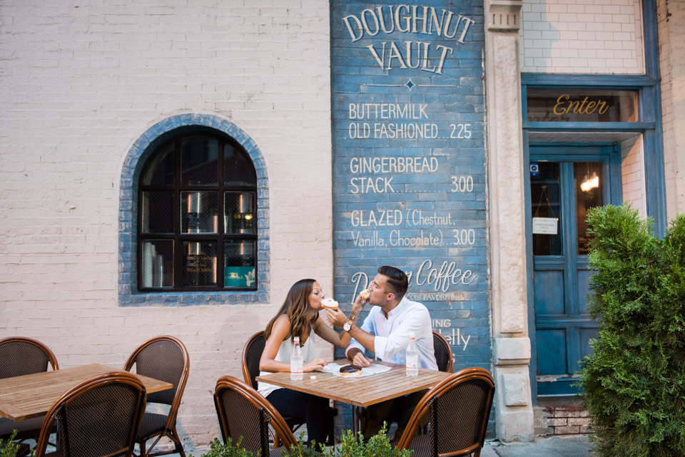 Chicago engagement with donuts