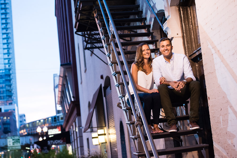 Engagement portrait on fire escape