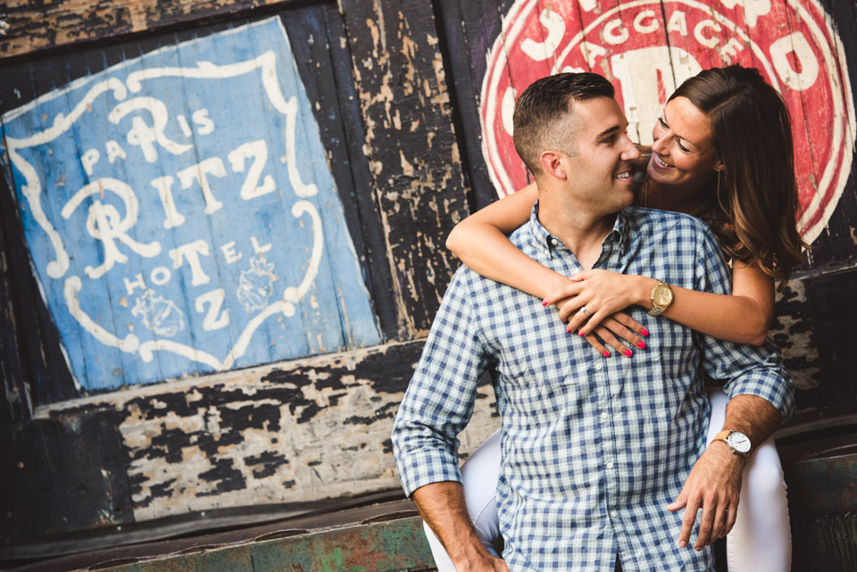 Green Street Meats engagement photo