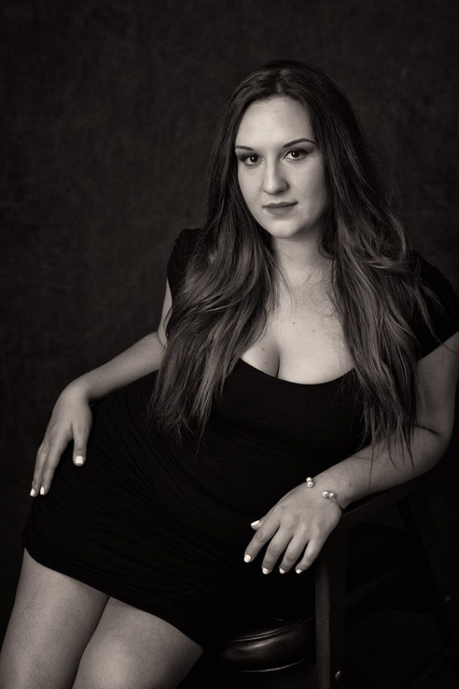 Little black dress portrait